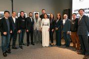 Saby Build Your Business contest. Kenes Rakishev, Vyacheslav Kim and Aselle Tasmagambetova.