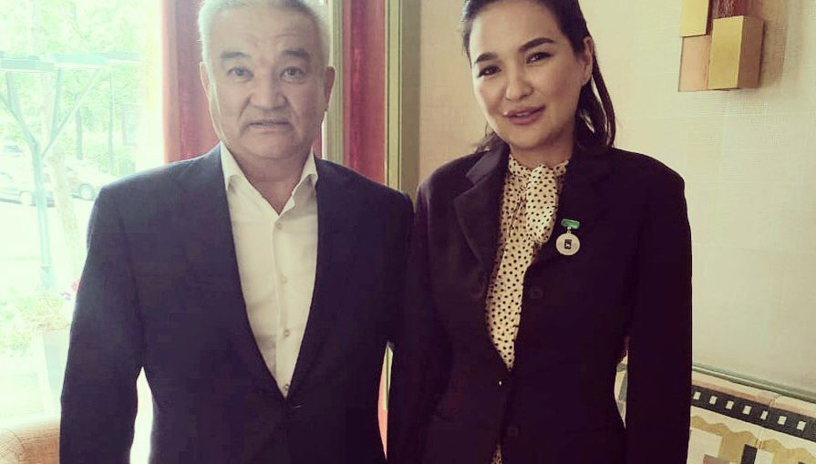 Aselle Tasmagambetova and Ermak Salimov, the mayor of Semey city