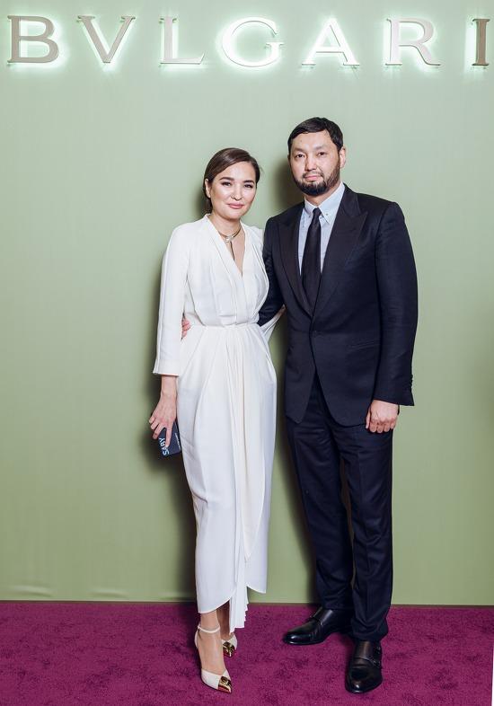 Aselle Tasmagambetova and Kenes Rakishev at the gala evening of Bvlgari event
